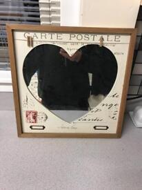 Wooden Framed Heart Centred Mirror