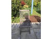 Four solid wood folding garden chairs