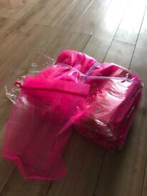 3 sets of pink organza bags
