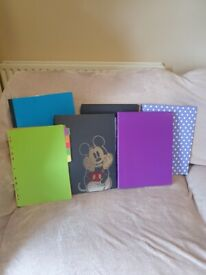 4 folders, 1 box file and plastic dividers