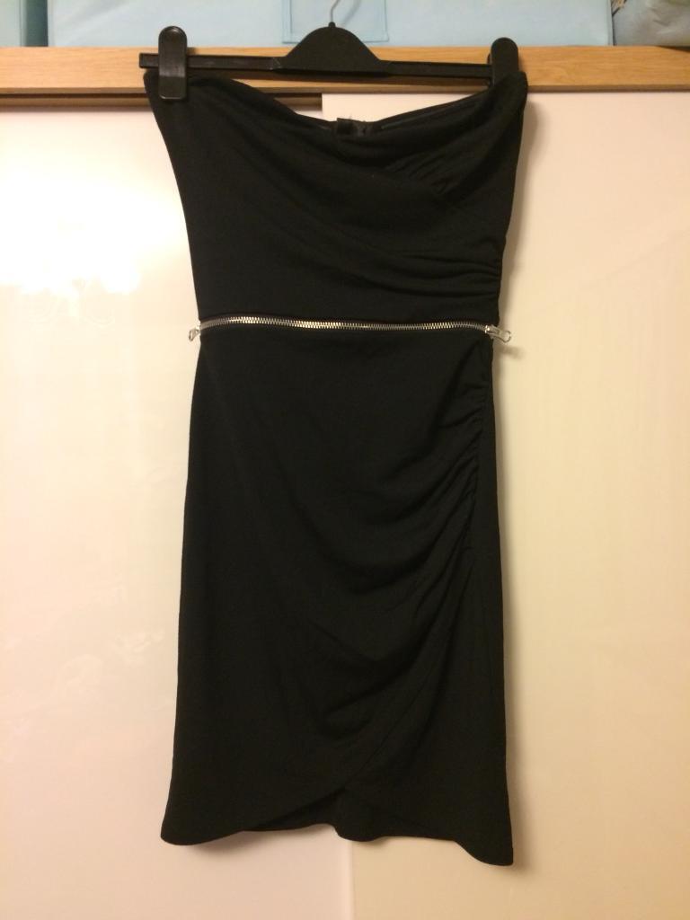 Lipsy black dress strapless 8
