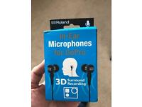 Roland WPM10 in ear Binaural microphones mini USB for GoPro.