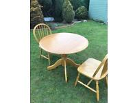 Beech wood drop leaf table and chairs ( can deliver)