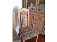Six Light Oak Dining Chairs seven pounds each !