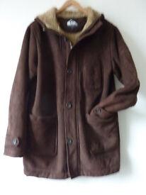 QUIKSILVER brown duffle style Uber warm winter coat w hood*faux fur lined*Medium