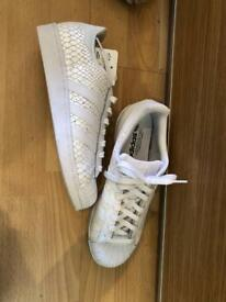 Adidas White Snakeskin Trainers