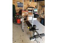 York weight bench and weight set/ home gym