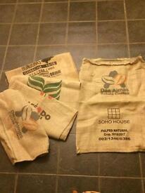 Hesian coffee sacks x5