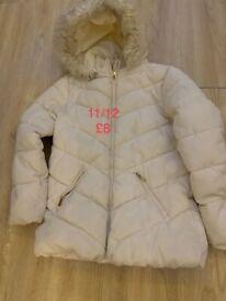 Girls cream coat age 11/12