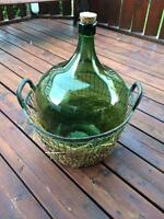 Antique Green Demijohn Carboy Wine Bottle & Basket