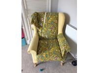 Wingback chair with designer fabric