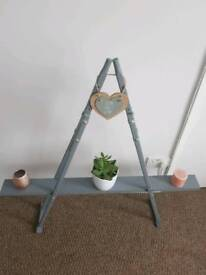 Shelf, storage stand, bespoke upcycle from vintage wooden crutches