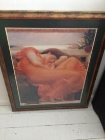 Very large framed picture of renaissance lady