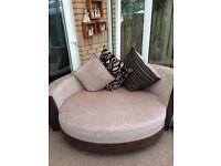 Stunning beigh material cuddle chair