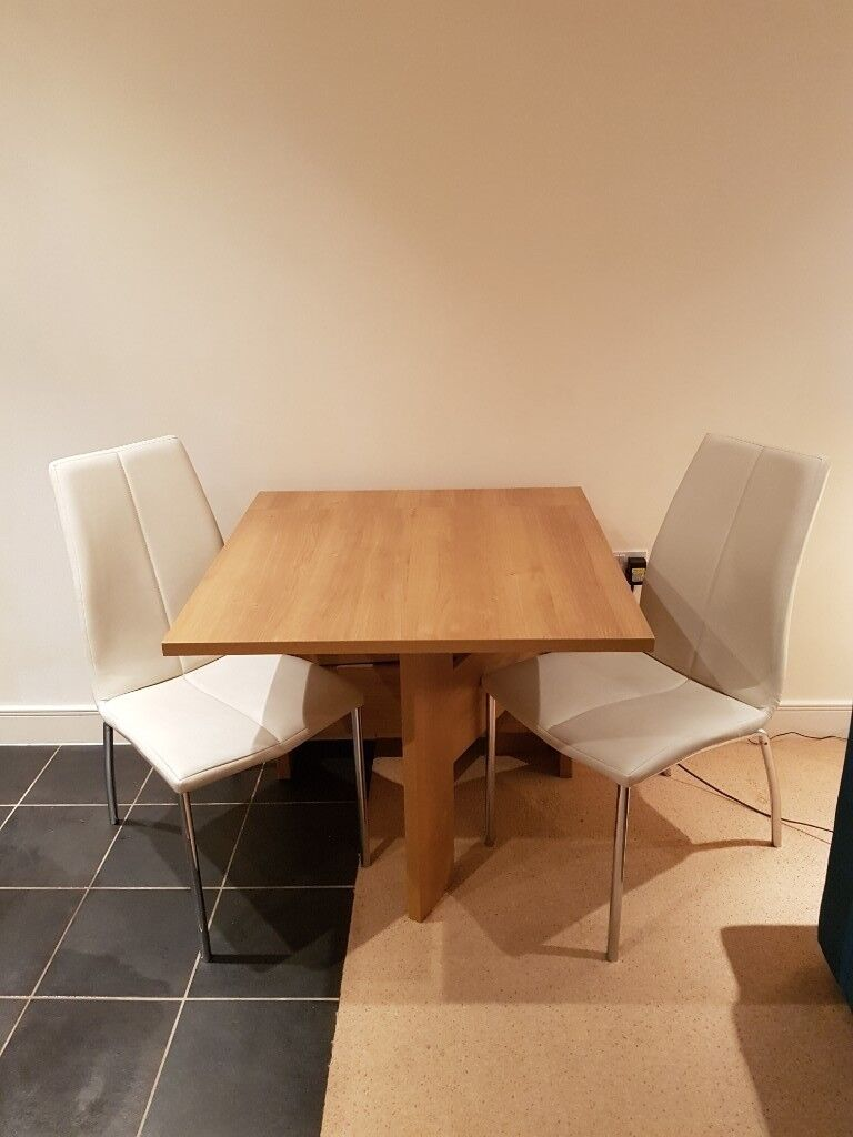 Wooden Gate Leg Fold Down Dining Table From Next With 2 Cream Leather Chairs