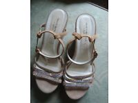 Pair of ROBERTO BOTELLA Beige Suede Leather Diamente Trim High Wedge Sandals - size 41 EU