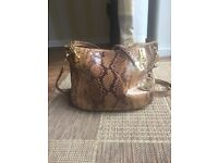 Genuine Michael Kors tote bag, dustbag, immaculate condition, Python embossed with gold metal detail