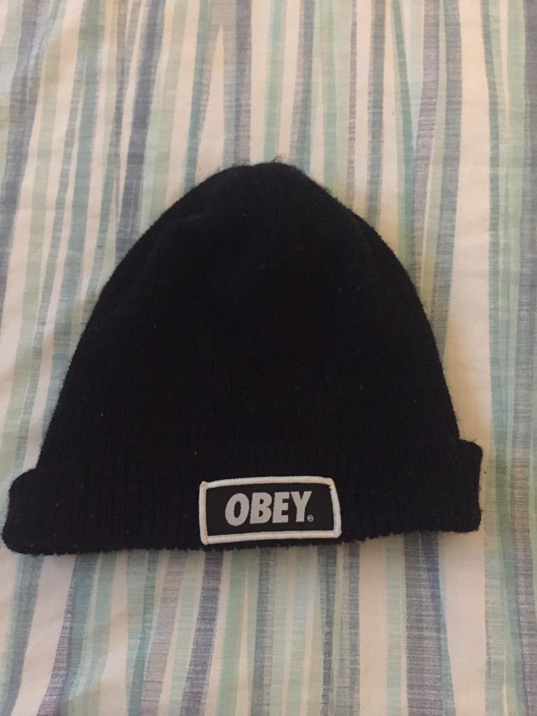 Black obey woolly hat