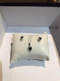 Brand new silver heart necklace and earring set