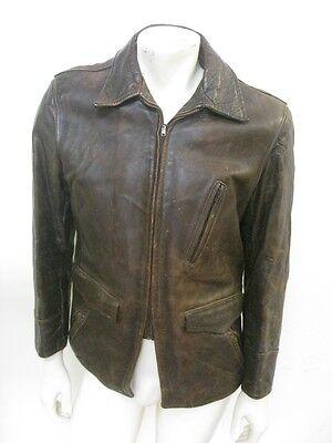 Vintage 1950s BOND Brown HORSEHIDE Leather Motorcycle Jacket Size MEDIUM