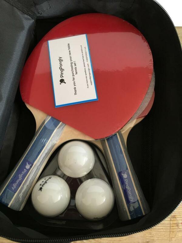 Ping Pongly NIP Table Tennis Set  w/ Retractable Net Paddles Balls Ping Pong