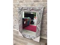 Stunning chrome coloured Ornate Mirror. New