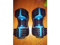 2 x Men Health Adjustable Dumbbells (PAIR) 25kg each in VGC (york, bowflex, powerblock)