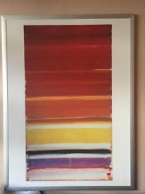 Modern abstract print with silver frame