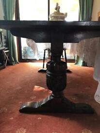 Oak antique dining room table and 4 chairs