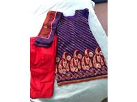 Indian Dress red and purple size 10