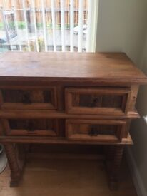 mexican pine 4 draw sideboard