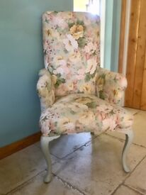 ARMCHAIR recovered with Laura Ashley fabric, 120cm in height, 65cm in width
