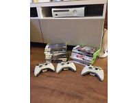 Xbox 360 inc 18 games and 3 controllers