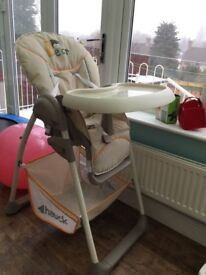 Bouncer and high chair from birth