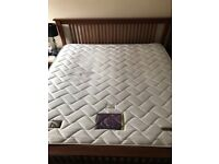 SuperKing Sized teak bed frame and mattress 5 years old