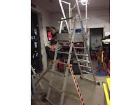 Zarges Aluminium Class 1 Platform Step Ladders Shelf with Wheels. 6 Tread