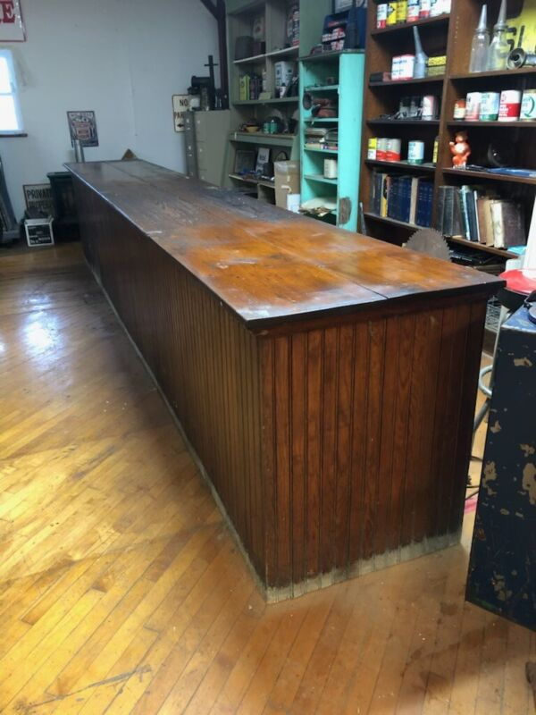 """Vintage country store counter cabinet Bead Board  antique 12' x 34"""" h x 32"""""""