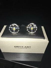 Onyx art steering wheel cuff links with crystals
