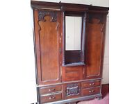 very large and ornate vintage period Victorian solid mahogany wardrobe