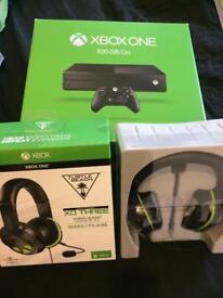 Xbox One 500GB With XO THREE Turtle Beach Headseti