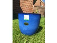 Blue glazed garden pot 34 cm wide NEW