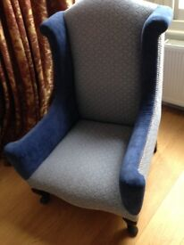 Vintage/ Shabby Chic contemporary look Blue/ Grey Armchair