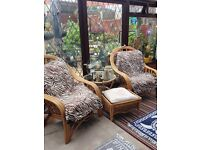 4 piece garden/conservatory / patio furniture set, 2 large seats, glass table and foot stool.