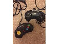 2 sega megadrive controllers competition pro series 2 & beeshu striker