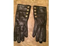 Chanel black leather gloves