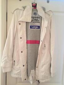 White superdry coat