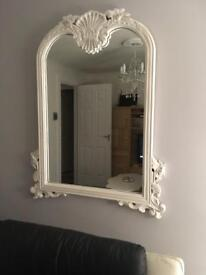 ARCH WOODEN LARGE MIRROR WHITE AND GREY