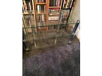 Clear glass tv stand