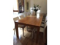Stunning 3 meter long SOLID OAK contemporary dining table with 10 chairs!