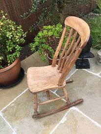 VERY OLD SOLID OAK ROCKING CHAIR £65.00 no offers. Lots of items for sale.